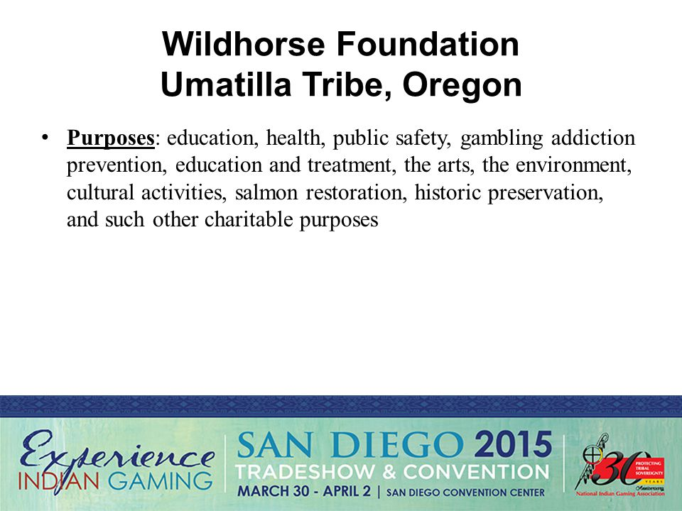 Wildhorse Foundation Umatilla Tribe, Oregon Purposes: education, health, public safety, gambling addiction prevention, education and treatment, the arts, the environment, cultural activities, salmon restoration, historic preservation, and such other charitable purposes