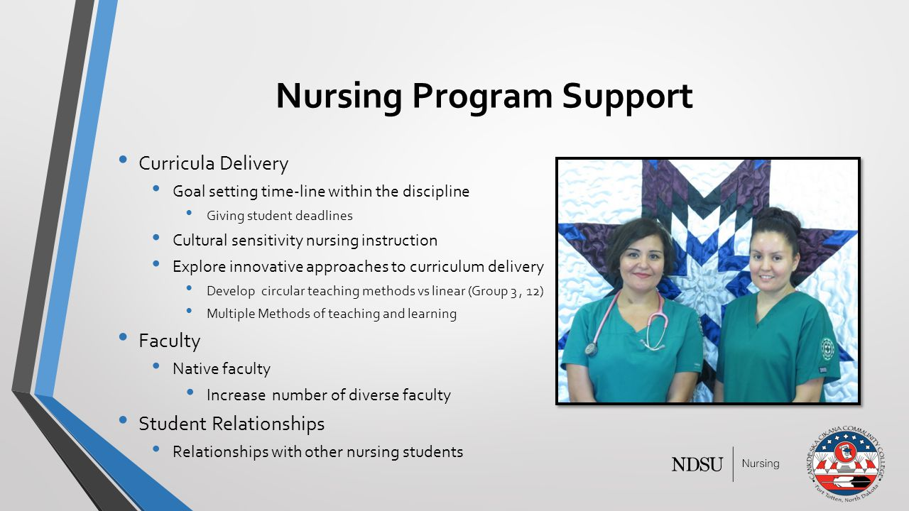 Nursing Program Support Curricula Delivery Goal setting time-line within the discipline Giving student deadlines Cultural sensitivity nursing instruction Explore innovative approaches to curriculum delivery Develop circular teaching methods vs linear (Group 3, 12) Multiple Methods of teaching and learning Faculty Native faculty Increase number of diverse faculty Student Relationships Relationships with other nursing students