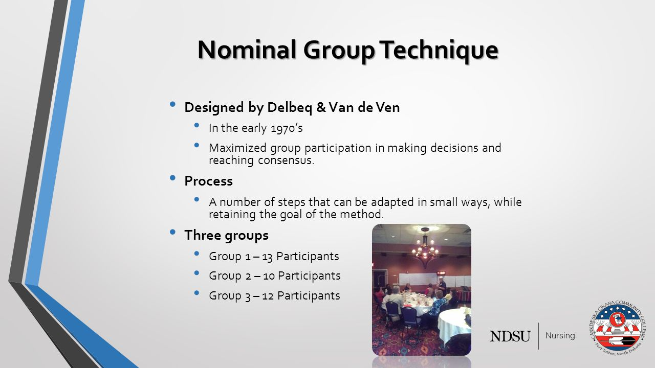 Nominal Group Technique Designed by Delbeq & Van de Ven In the early 1970's Maximized group participation in making decisions and reaching consensus.