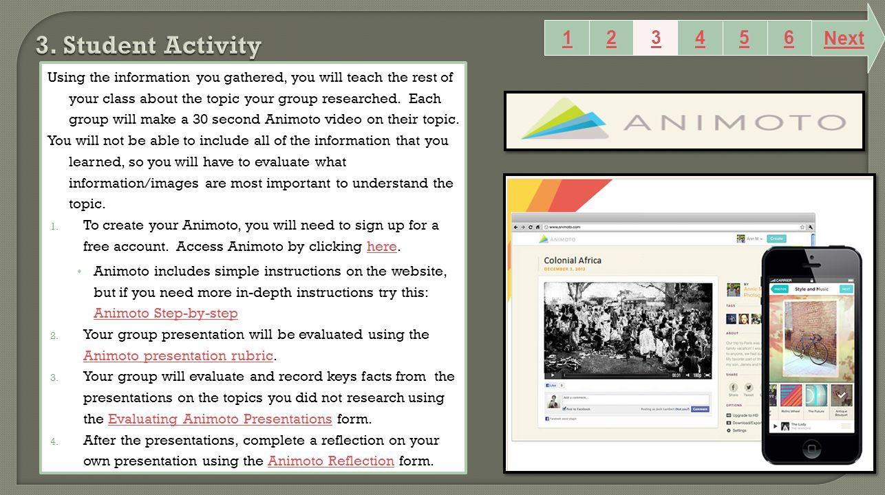Using the information you gathered, you will teach the rest of your class about the topic your group researched. Each group will make a 30 second Anim
