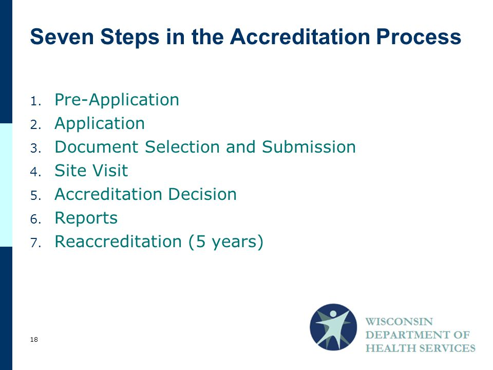 Seven Steps in the Accreditation Process 1.Pre-Application 2.