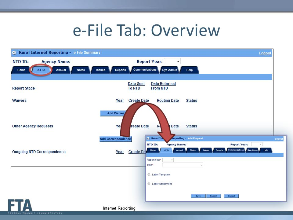 e-File Tab: Overview Internet Reporting