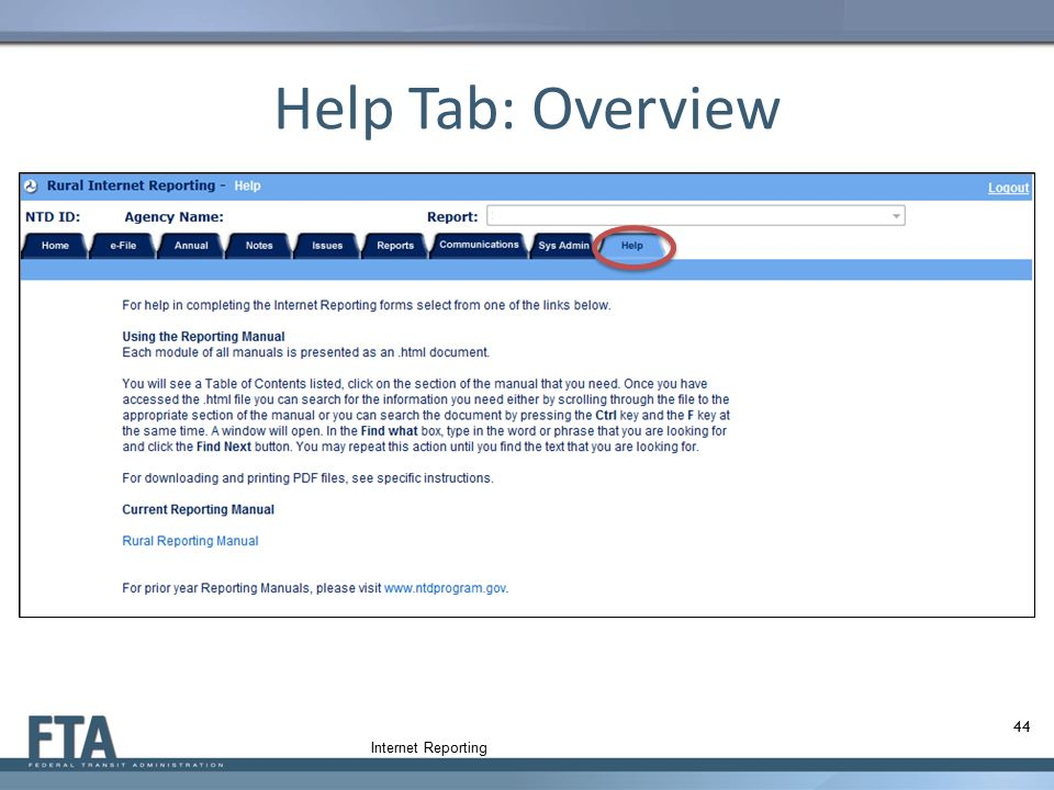Help Tab: Overview 44 Internet Reporting