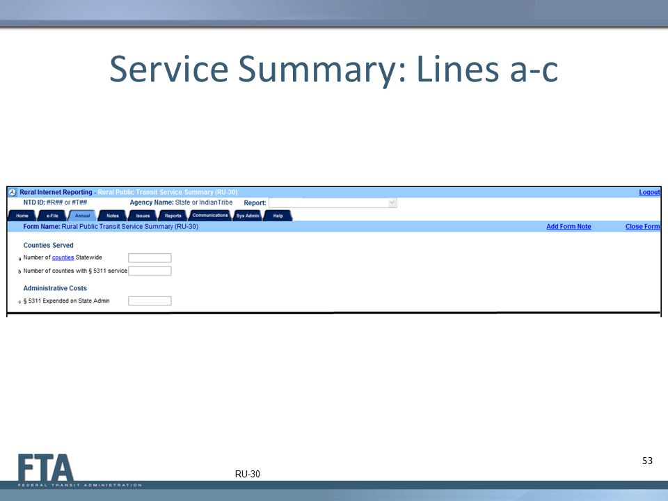 Service Summary: Lines a-c 53 RU-30