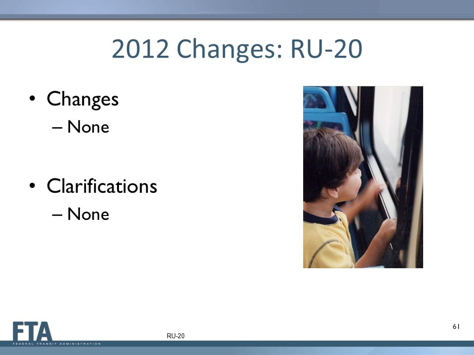 2012 Changes: RU-20 Changes – None Clarifications – None 61 RU-20