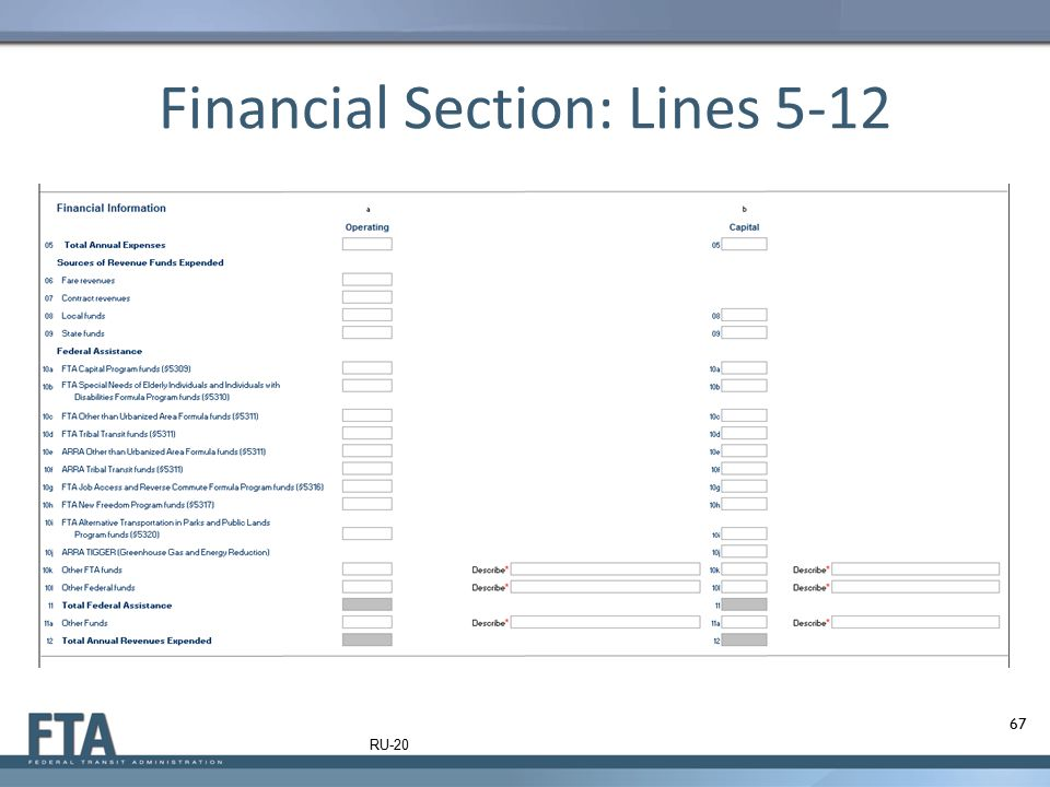 Financial Section: Lines 5-12 67 RU-20