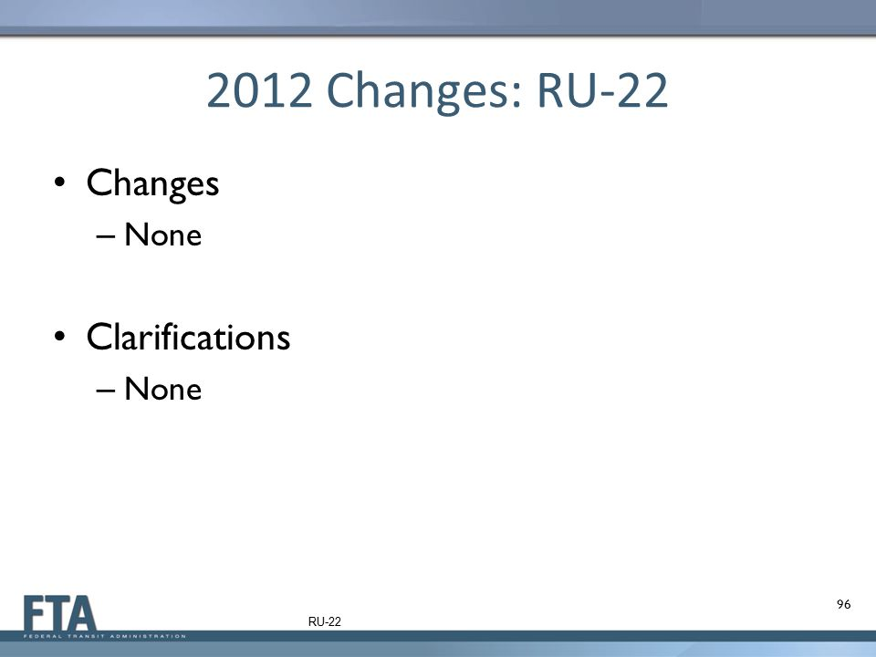2012 Changes: RU-22 Changes – None Clarifications – None 96 RU-22