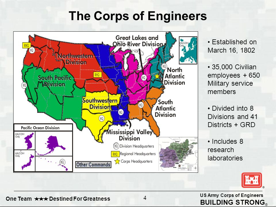 US Army Corps of Engineers BUILDING STRONG ® One Team Destined For Greatness Established on March 16, 1802 35,000 Civilian employees + 650 Military service members Divided into 8 Divisions and 41 Districts + GRD Includes 8 research laboratories The Corps of Engineers 4