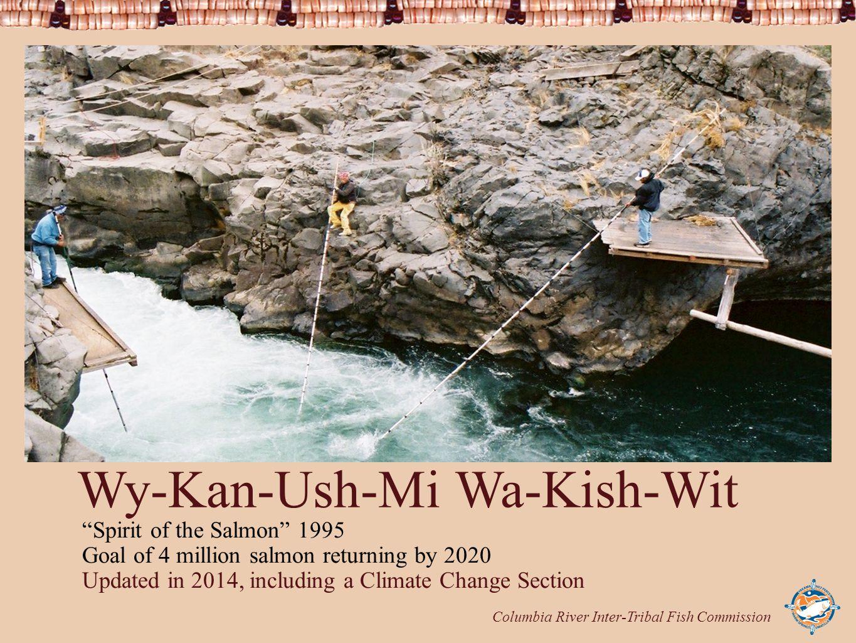 "Columbia River Inter-Tribal Fish Commission Wy-Kan-Ush-Mi Wa-Kish-Wit ""Spirit of the Salmon"" 1995 Goal of 4 million salmon returning by 2020 Updated i"