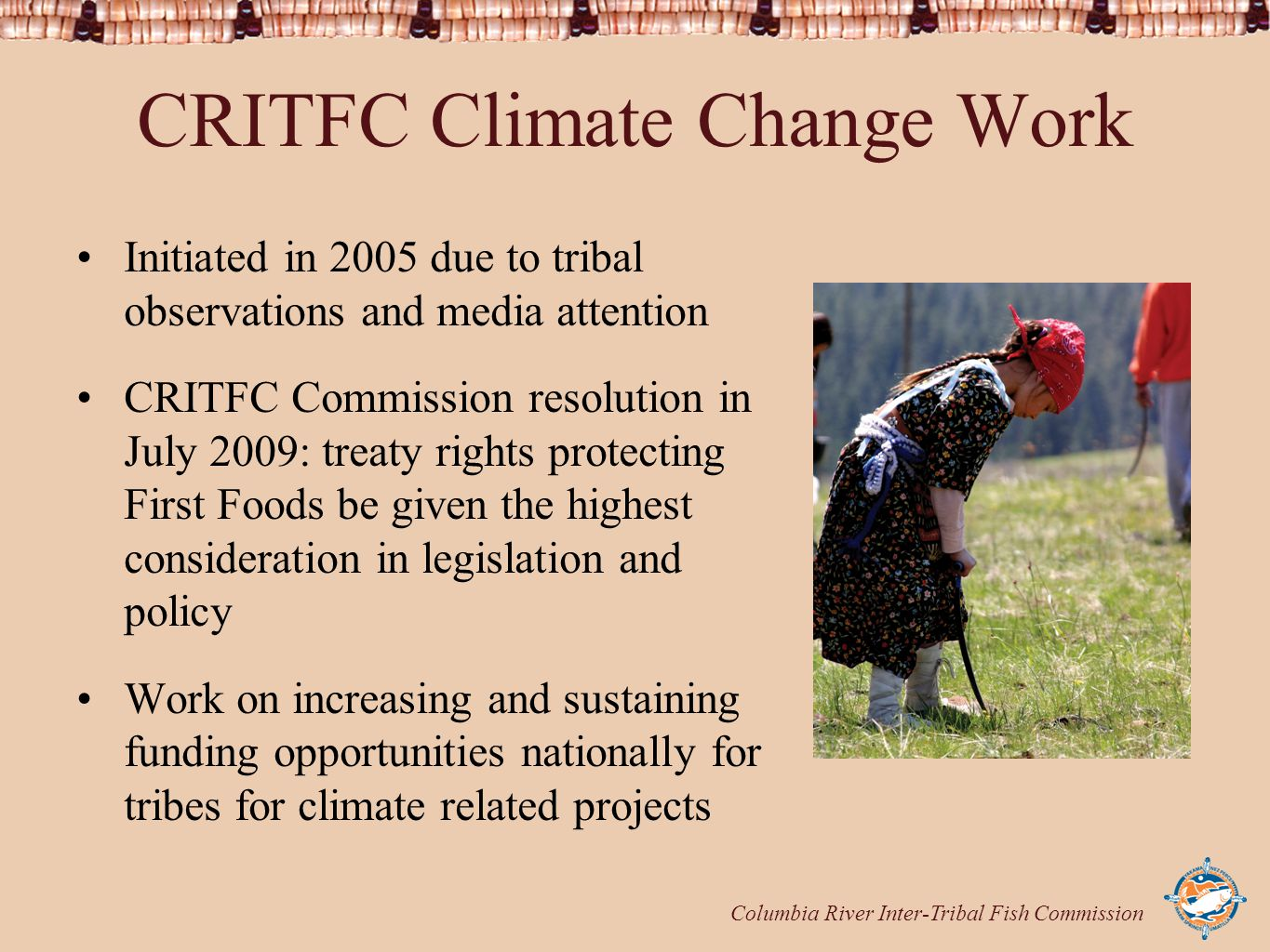 Columbia River Inter-Tribal Fish Commission CRITFC Climate Change Work Initiated in 2005 due to tribal observations and media attention CRITFC Commiss