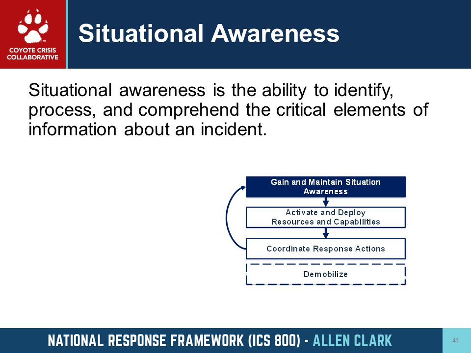 Situational Awareness Situational awareness is the ability to identify, process, and comprehend the critical elements of information about an incident