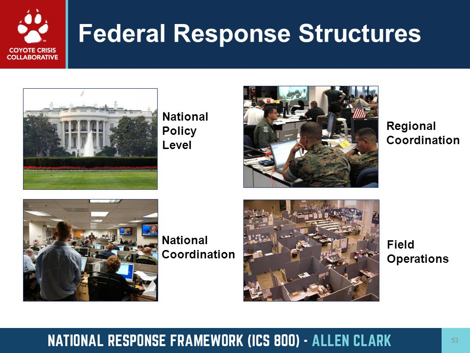 Federal Response Structures 53 National Policy Level National Coordination Regional Coordination Field Operations