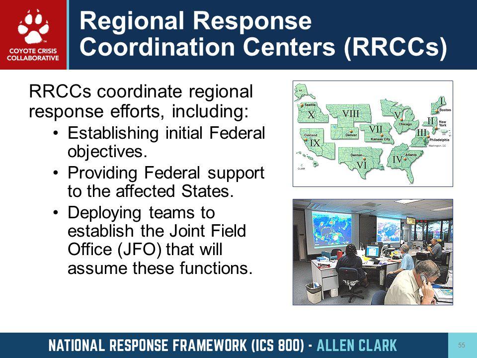 Regional Response Coordination Centers (RRCCs) RRCCs coordinate regional response efforts, including: Establishing initial Federal objectives. Providi