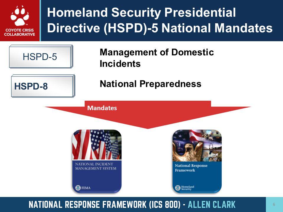 Homeland Security Presidential Directive (HSPD)-5 National Mandates HSPD-5 HSPD-8 National Preparedness Management of Domestic Incidents Mandates 6