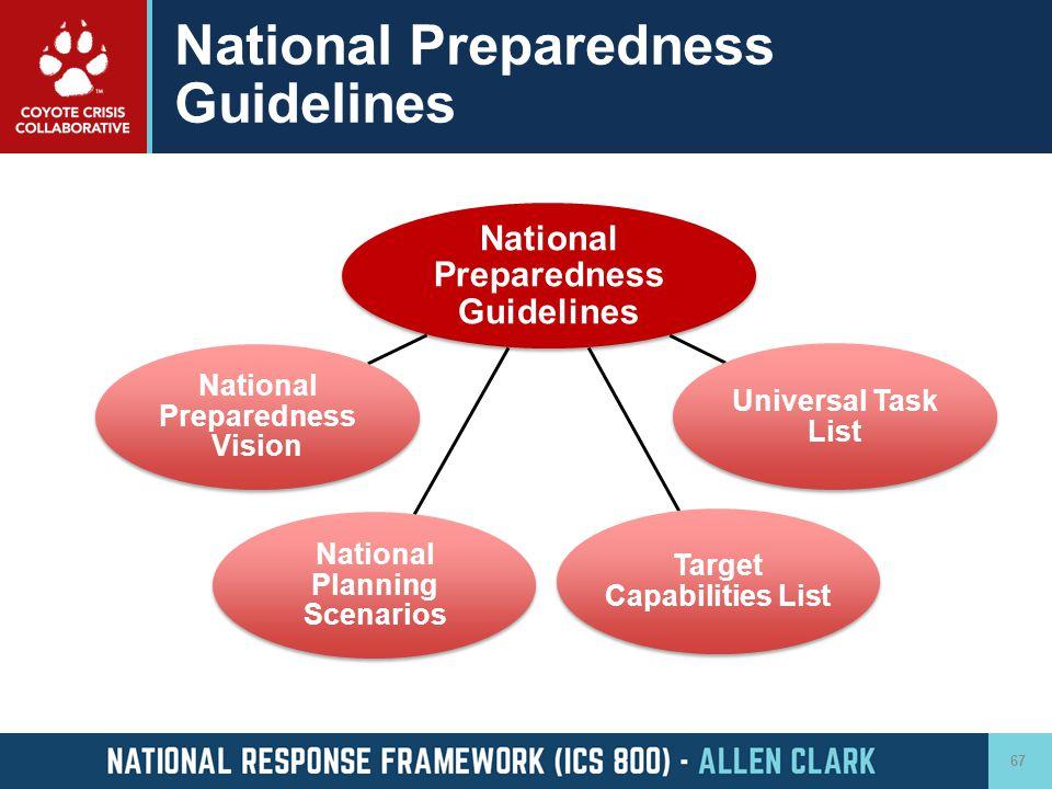 National Preparedness Guidelines 67 National Preparedness Guidelines National Preparedness Vision National Planning Scenarios Universal Task List Targ