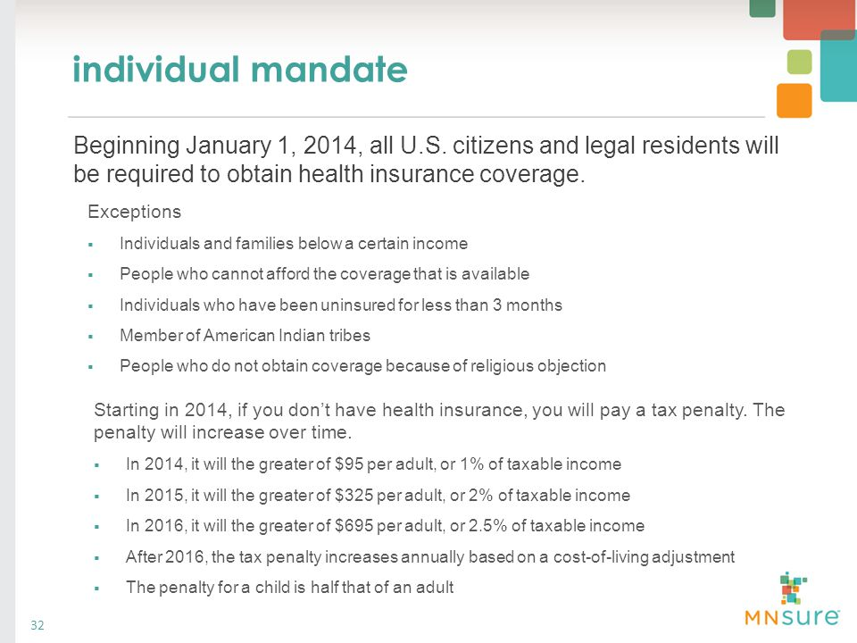 individual mandate 32 Exceptions  Individuals and families below a certain income  People who cannot afford the coverage that is available  Individ