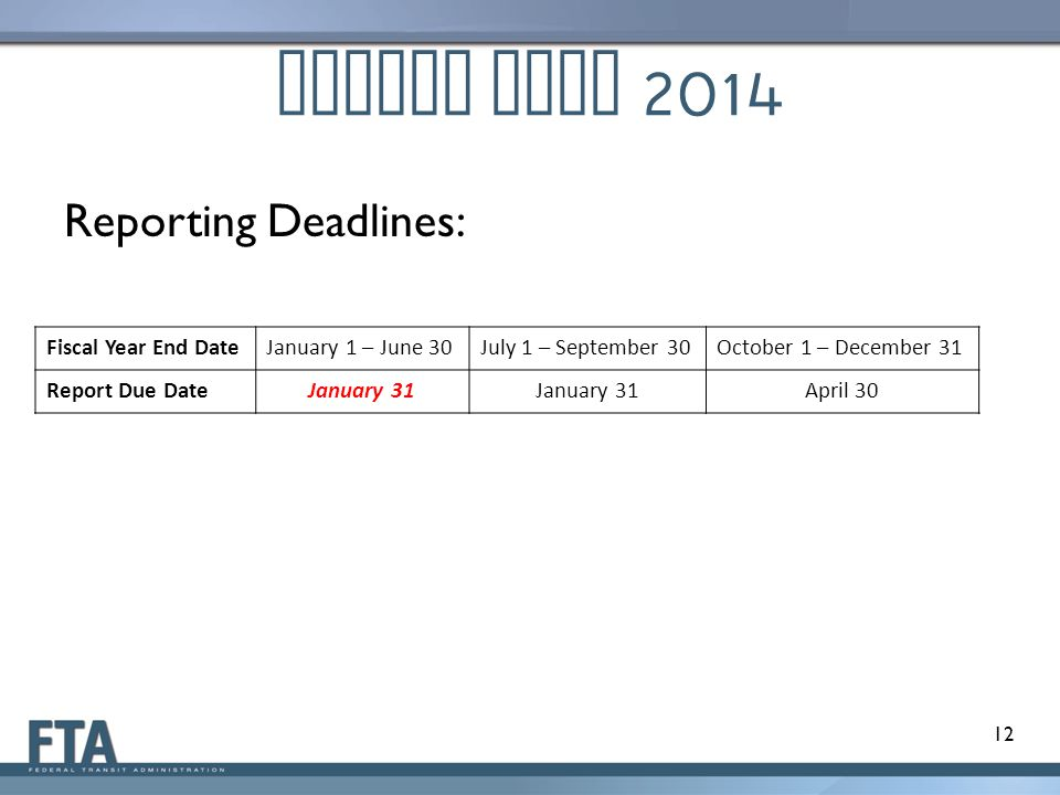 Report Year 2014 Reporting Deadlines: Fiscal Year End DateJanuary 1 – June 30July 1 – September 30October 1 – December 31 Report Due DateJanuary 31 April 30 12