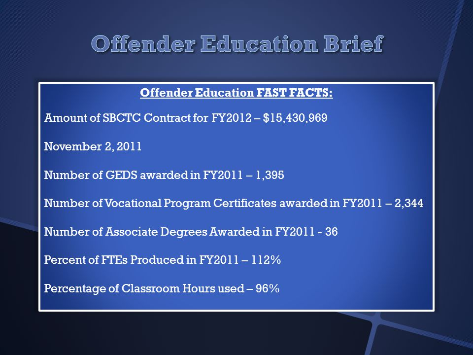 Offender Education FAST FACTS: Amount of SBCTC Contract for FY2012 – $15,430,969 November 2, 2011 Number of GEDS awarded in FY2011 – 1,395 Number of Vocational Program Certificates awarded in FY2011 – 2,344 Number of Associate Degrees Awarded in FY2011 - 36 Percent of FTEs Produced in FY2011 – 112% Percentage of Classroom Hours used – 96%