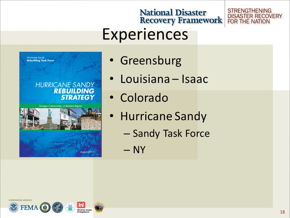 18 Experiences Greensburg Louisiana – Isaac Colorado Hurricane Sandy – Sandy Task Force – NY
