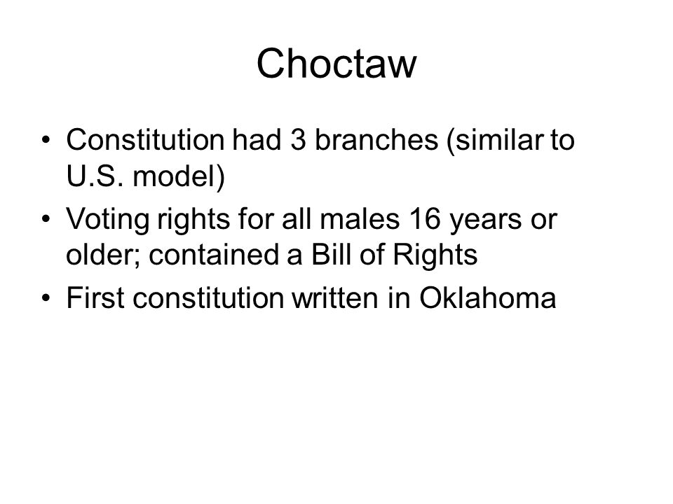 Chickasaw They were assigned a specific district of the Choctaw nation and were given equal rights in the Choctaw government They were treated as minorities In 1855 they negotiated for their own independent government and drafted a constitution the next year