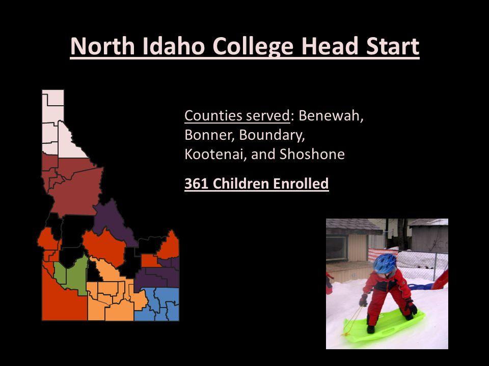 North Idaho College Head Start Counties served: Benewah, Bonner, Boundary, Kootenai, and Shoshone 361 Children Enrolled