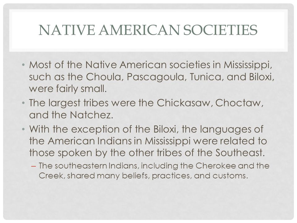 NATIVE AMERICAN SOCIETIES Most of the Native American societies in Mississippi, such as the Choula, Pascagoula, Tunica, and Biloxi, were fairly small.