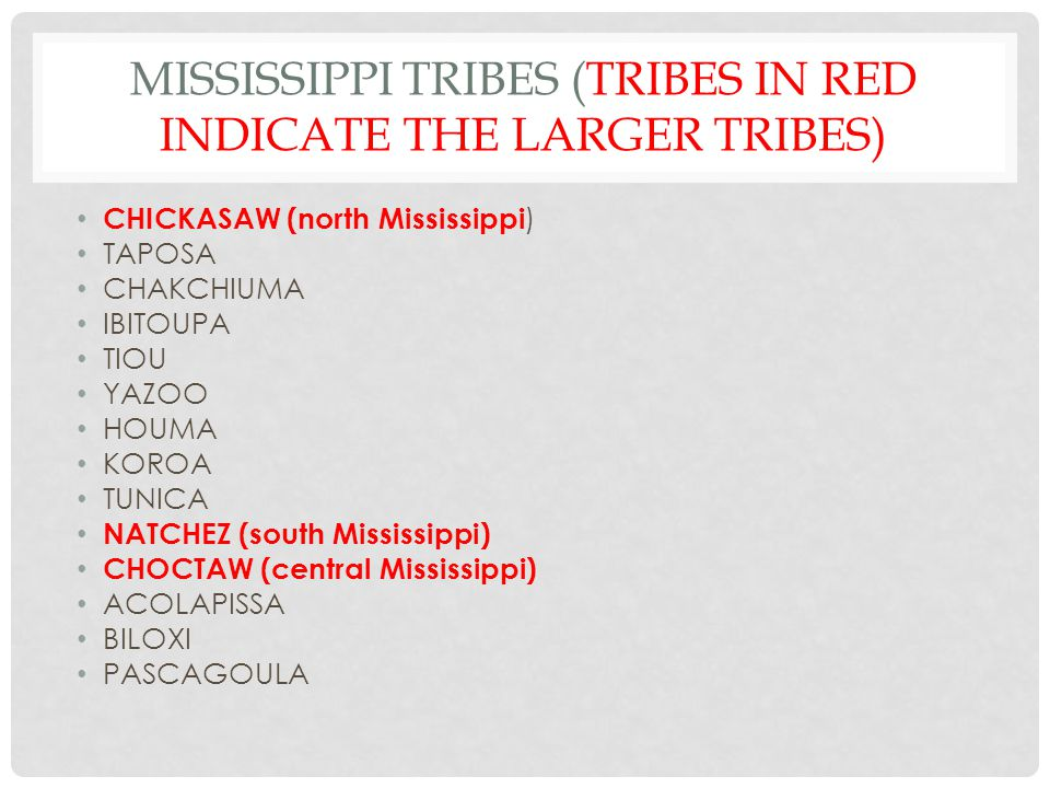 MISSISSIPPI TRIBES (TRIBES IN RED INDICATE THE LARGER TRIBES) CHICKASAW (north Mississippi ) TAPOSA CHAKCHIUMA IBITOUPA TIOU YAZOO HOUMA KOROA TUNICA