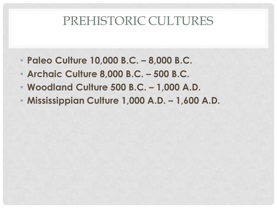 PREHISTORIC CULTURES Paleo Culture 10,000 B.C. – 8,000 B.C.