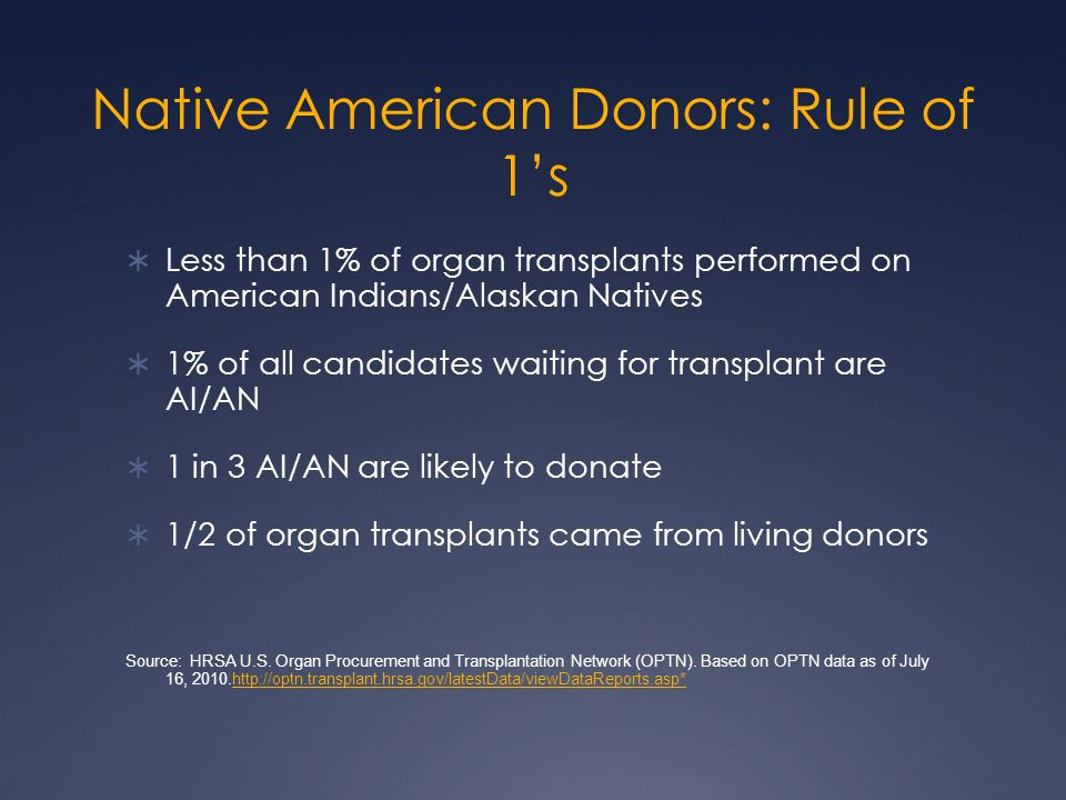 Native American Donors: Rule of 1's  Less than 1% of organ transplants performed on American Indians/Alaskan Natives  1% of all candidates waiting for transplant are AI/AN  1 in 3 AI/AN are likely to donate  1/2 of organ transplants came from living donors Source: HRSA U.S.
