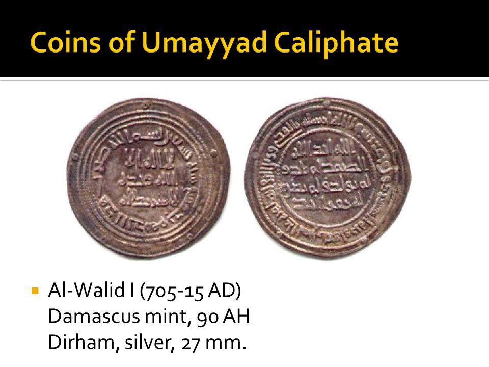  Al-Walid I (705-15 AD) Damascus mint, 90 AH Dirham, silver, 27 mm.