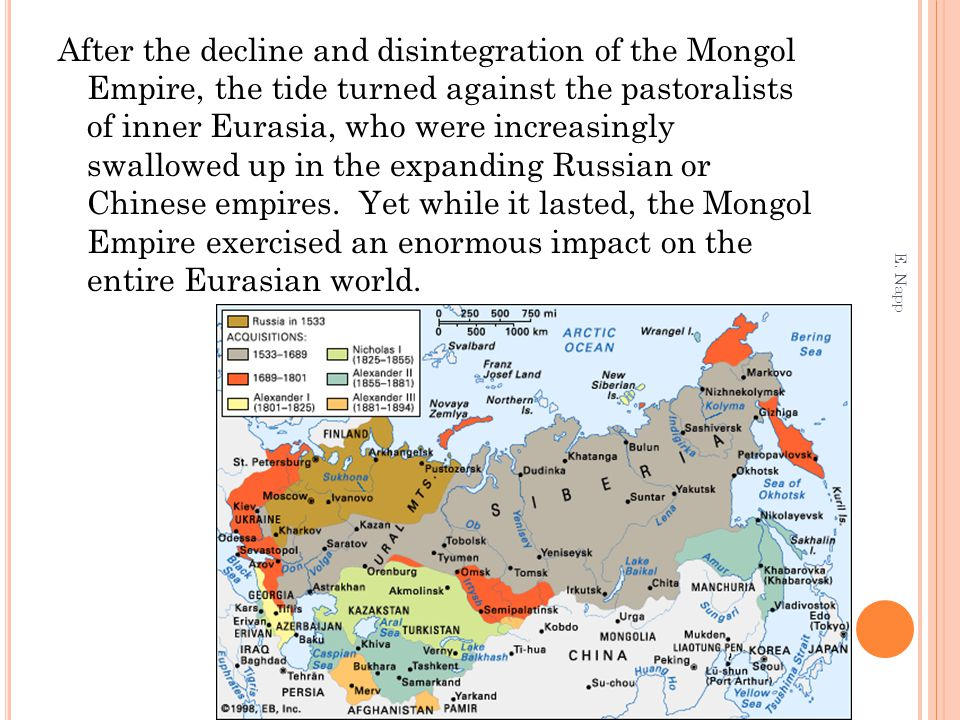 After the decline and disintegration of the Mongol Empire, the tide turned against the pastoralists of inner Eurasia, who were increasingly swallowed