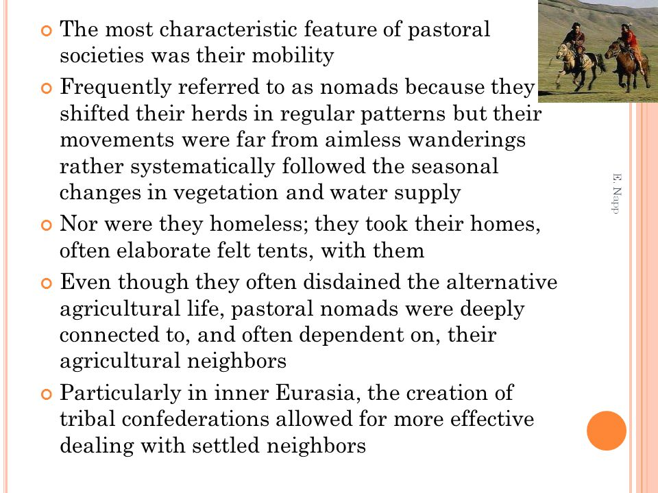 The most characteristic feature of pastoral societies was their mobility Frequently referred to as nomads because they shifted their herds in regular