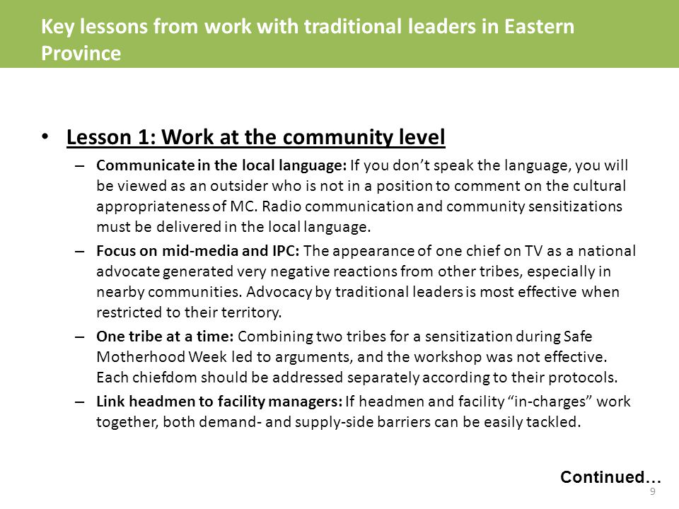 Lesson 1: Work at the community level – Communicate in the local language: If you don't speak the language, you will be viewed as an outsider who is not in a position to comment on the cultural appropriateness of MC.