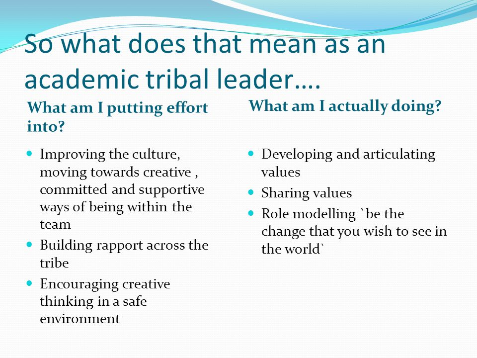So what does that mean as an academic tribal leader….