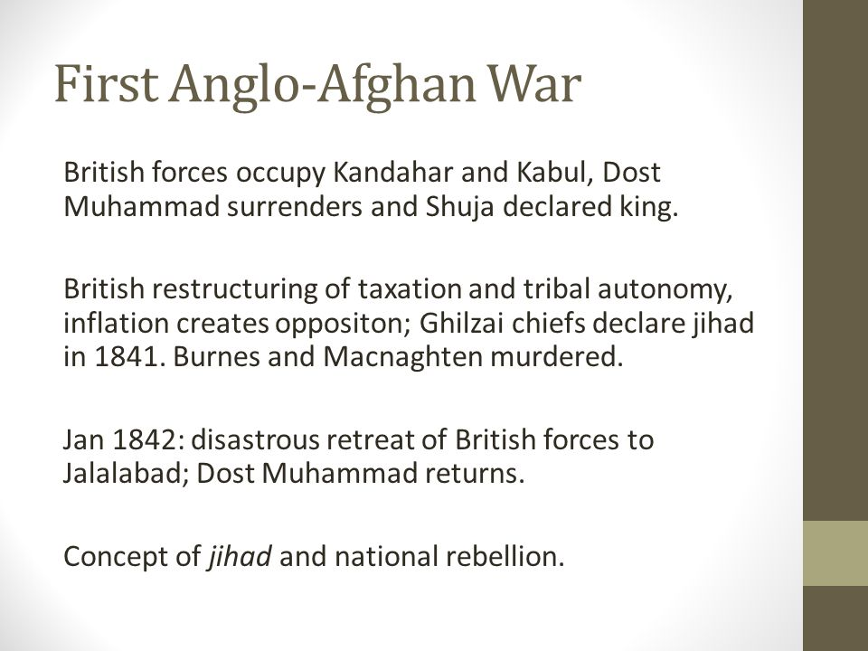 First Anglo-Afghan War British forces occupy Kandahar and Kabul, Dost Muhammad surrenders and Shuja declared king.