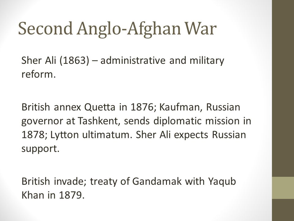Second Anglo-Afghan War Sher Ali (1863) – administrative and military reform.