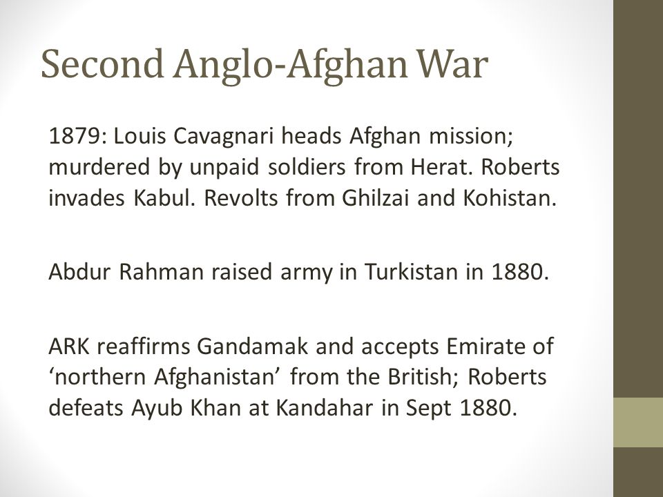 Second Anglo-Afghan War 1879: Louis Cavagnari heads Afghan mission; murdered by unpaid soldiers from Herat.
