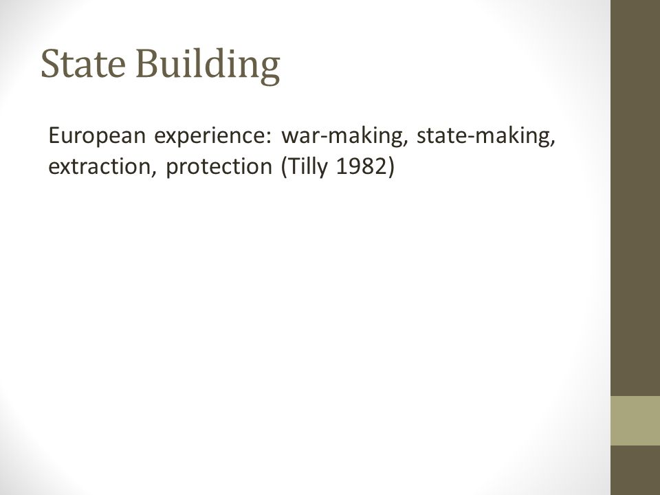 State Building European experience: war-making, state-making, extraction, protection (Tilly 1982)