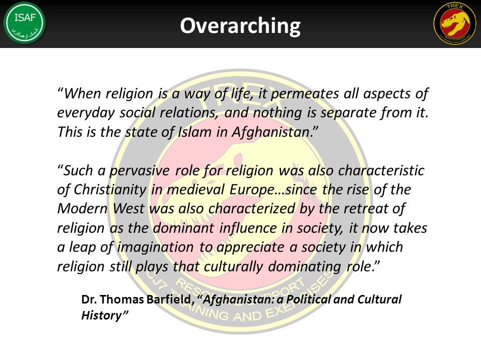 When religion is a way of life, it permeates all aspects of everyday social relations, and nothing is separate from it.