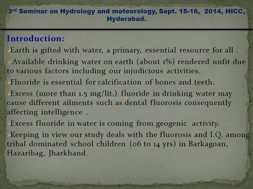 Mining Activities 3 rd Seminar on Hydrology and meteorology, Sept. 15-16, 2014, HICC, Hyderabad.