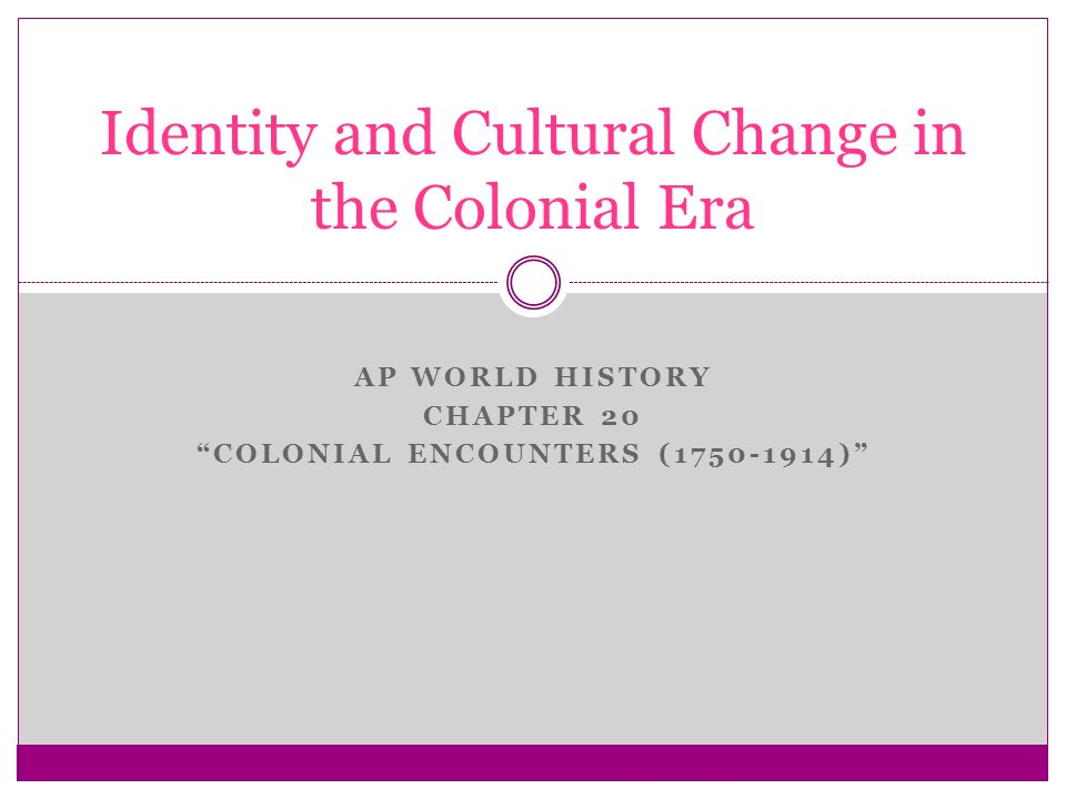 "AP WORLD HISTORY CHAPTER 20 ""COLONIAL ENCOUNTERS (1750-1914)"" Identity and Cultural Change in the Colonial Era"