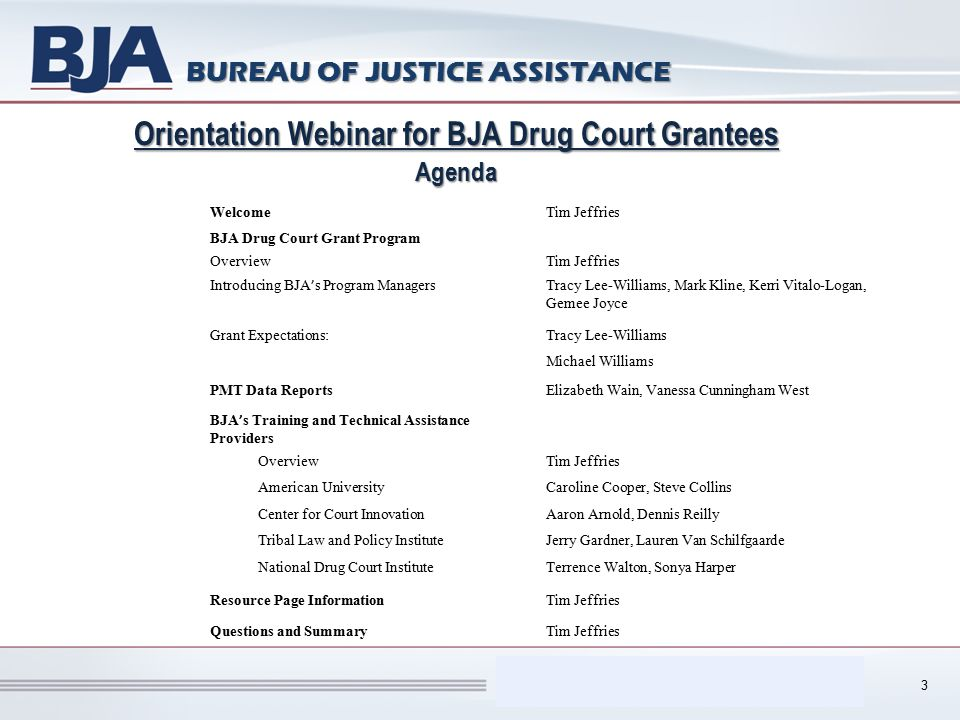 Performance Measurement Tool (PMT) BUREAU OF JUSTICE ASSISTANCE Orientation Webinar for BJA Drug Court Grantees Agenda 3 WelcomeTim Jeffries BJA Drug