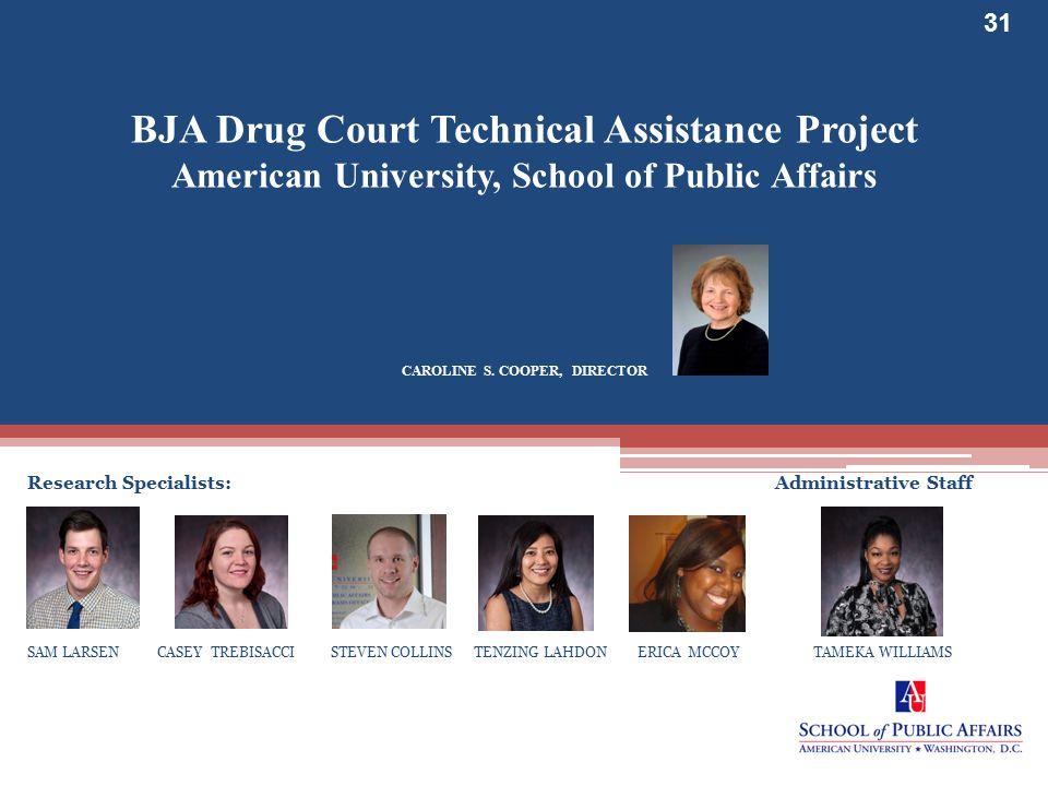 www.bjatraining.org 31 BJA Drug Court Technical Assistance Project American University, School of Public Affairs CAROLINE S.