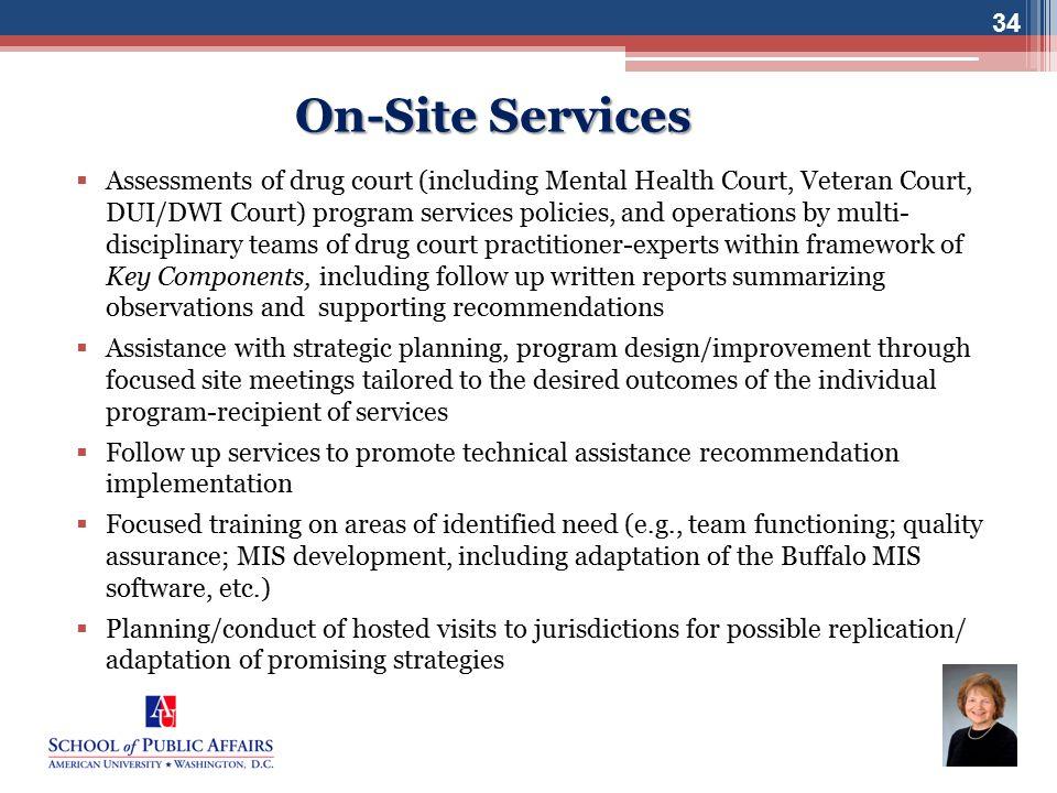 www.bjatraining.org 34 On-Site Services  Assessments of drug court (including Mental Health Court, Veteran Court, DUI/DWI Court) program services pol