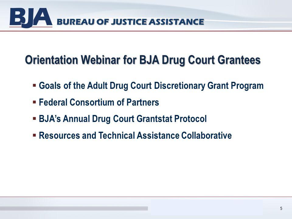 Performance Measurement Tool (PMT) BUREAU OF JUSTICE ASSISTANCE Orientation Webinar for BJA Drug Court Grantees  Goals of the Adult Drug Court Discre