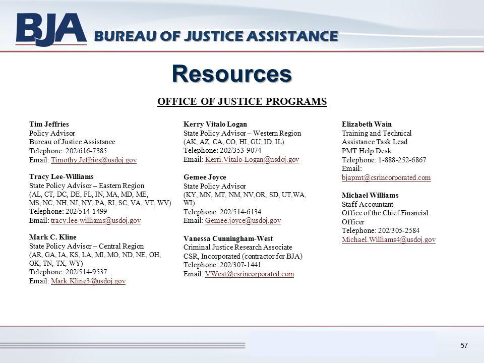 Performance Measurement Tool (PMT) BUREAU OF JUSTICE ASSISTANCE 57 Resources Tim Jeffries Policy Advisor Bureau of Justice Assistance Telephone: 202/6
