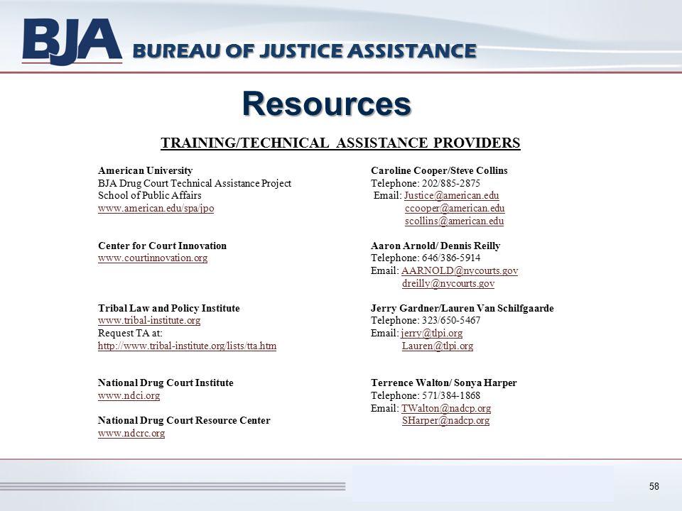Performance Measurement Tool (PMT) BUREAU OF JUSTICE ASSISTANCE 58 Resources TRAINING/TECHNICAL ASSISTANCE PROVIDERS American UniversityCaroline Coope