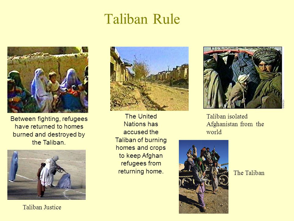 Taliban Rule Between fighting, refugees have returned to homes burned and destroyed by the Taliban.
