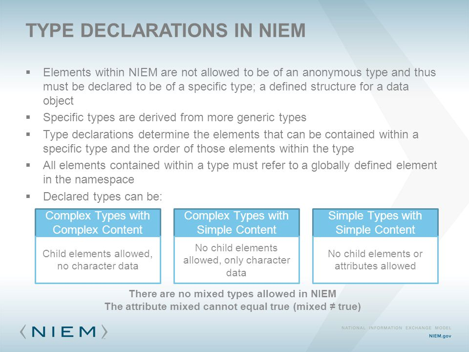  Elements within NIEM are not allowed to be of an anonymous type and thus must be declared to be of a specific type; a defined structure for a data o