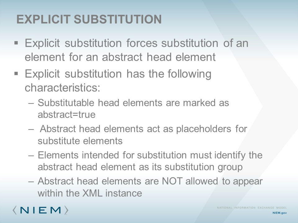  Explicit substitution forces substitution of an element for an abstract head element  Explicit substitution has the following characteristics: –Substitutable head elements are marked as abstract=true – Abstract head elements act as placeholders for substitute elements –Elements intended for substitution must identify the abstract head element as its substitution group –Abstract head elements are NOT allowed to appear within the XML instance EXPLICIT SUBSTITUTION
